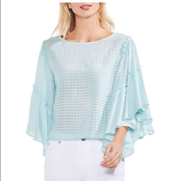 c03062623802b Vince Camuto Ruffle Bell Sleeve Textured Grid Top